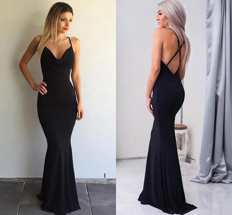 Black V-neck Mermaid   Bridesmaid     Dresses   2018 Sexy Backless Spaghetti Straps Floor Length Party Gowns Robe De Soiree Prom   Dress