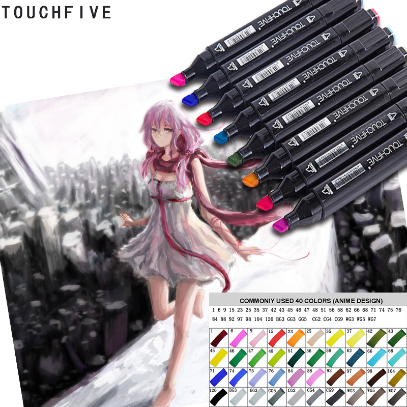 Touchfive Anime Art Marker Double Head Stationery Soluble Colored Copic Sketch Brush