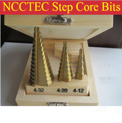 HSS 4241 NCCTEC step drill bits set with titanium nitride coating FREE SHIPPING | 3 pcs of Pagoda Ladder Drill 4-12 4-20 4-32mm step drill bits with titanium nitride coating free shipping high speed steel 6542 m2 pagoda drill ladder drill for holes 4 20mm