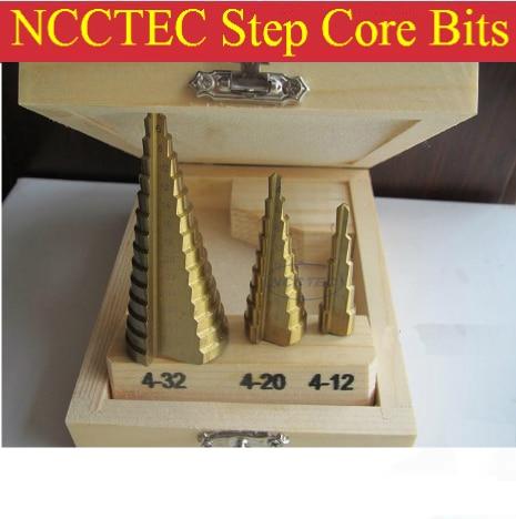 HSS 4241 NCCTEC step drill bits set with titanium nitride coating FREE SHIPPING | 3 pcs of Pagoda Ladder Drill 4-12 4-20 4-32mm 13pcs lot hss high speed steel drill bit set 1 4 hex shank 1 5 6 5mm free shipping hss twist drill bits set for power tools
