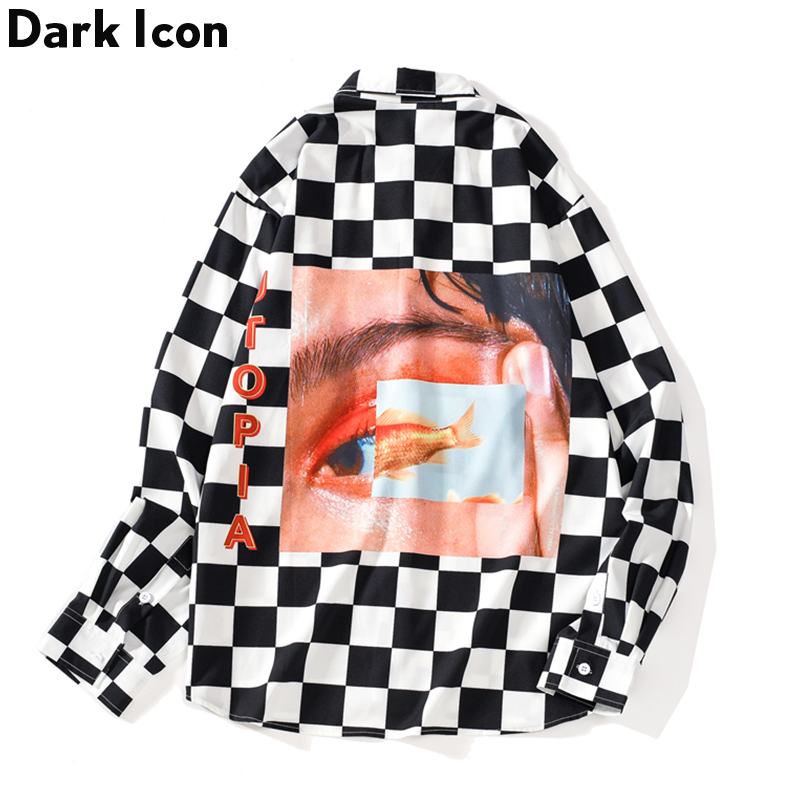 Dark Icon Interesting Print Plaid Men's Shirts 2019 Autumn Oversize Long Sleeved Checkered Shirts Streetwear Hipster Shirts