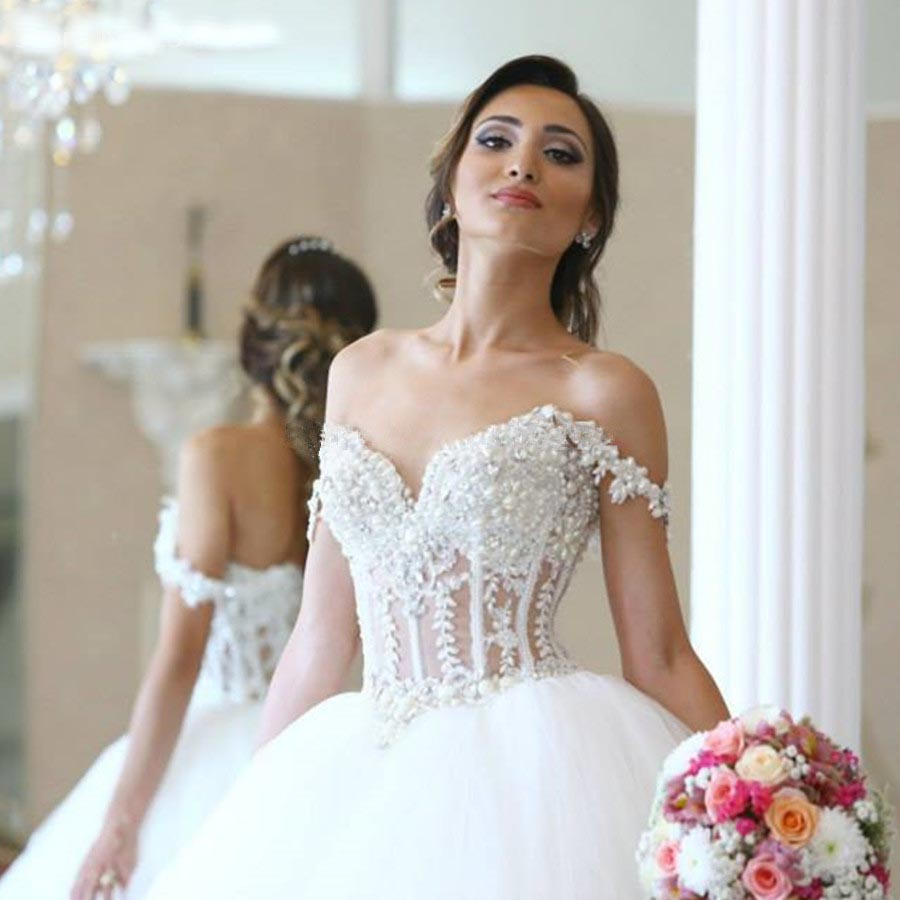 elegant lace appliques straps sweetheart bodice corset ball gowns wedding dress 2016 pearl beaded bride dresses hochzeitskleid