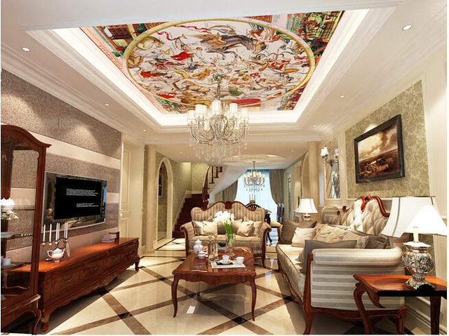 Aliexpresscom buy custom 3d ceiling wallpaper european for What kind of paint to use on kitchen cabinets for papier millimetre