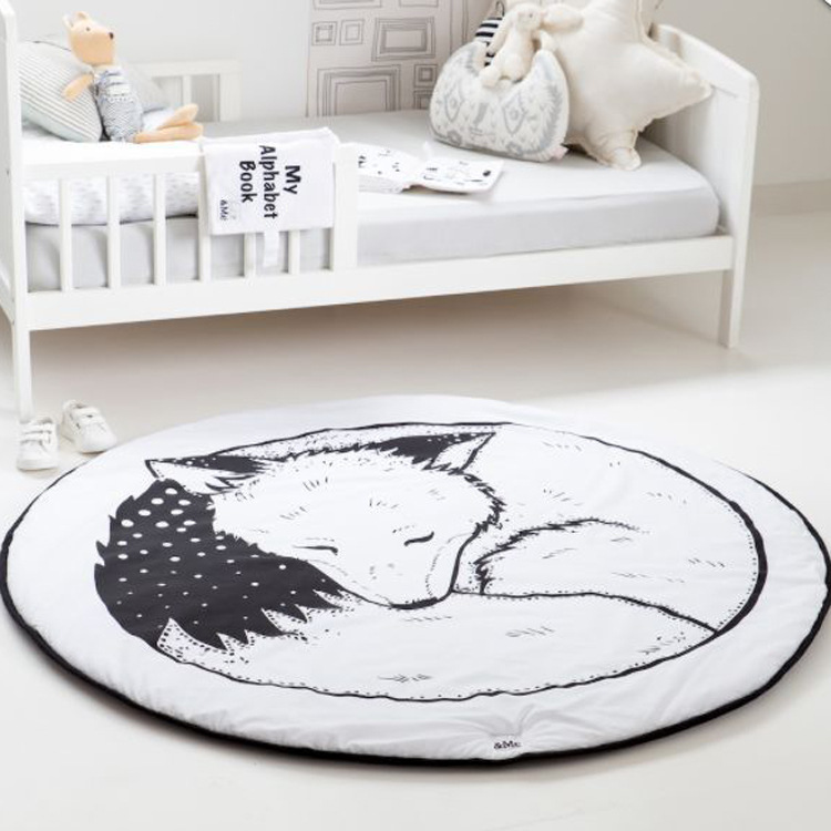INS New 1pc Baby Play Mat For Newborns Developing Rug Puzzle Mat Kids Animals Fox Cartoon Carpet Blanket Girls Boy Toys Dropship