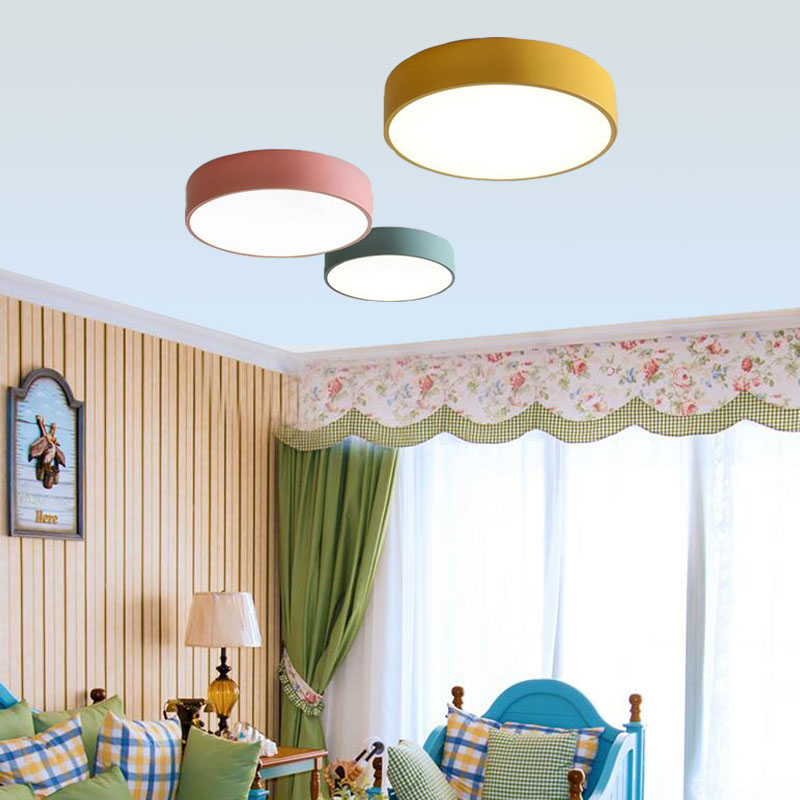 Nordic Round LED Acrylic Ceiling Lights creative Macarons luminaria led teto living room kids room aisle Home Decoration
