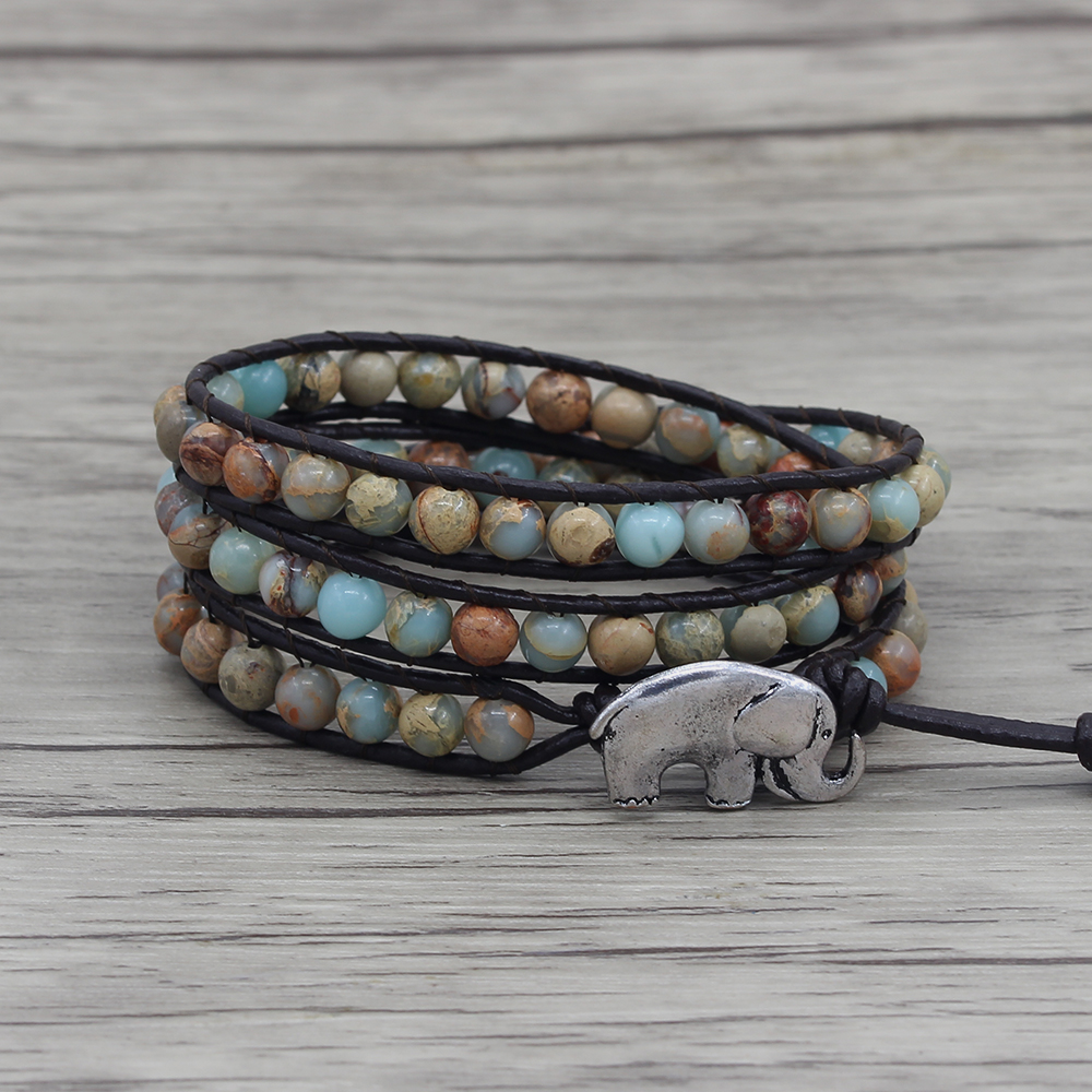 Shoushan stone beads bracelet leather wrap bracelet blue beads bracelet yoga bohemian wrap beads dropshipping 3 wrap beads