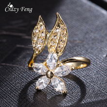 2016 Fashion CZ Stone Flower Wedding Rings For Women Romantic Crystal Ring Bague Femme Gold-color Rings Female Free Shipping
