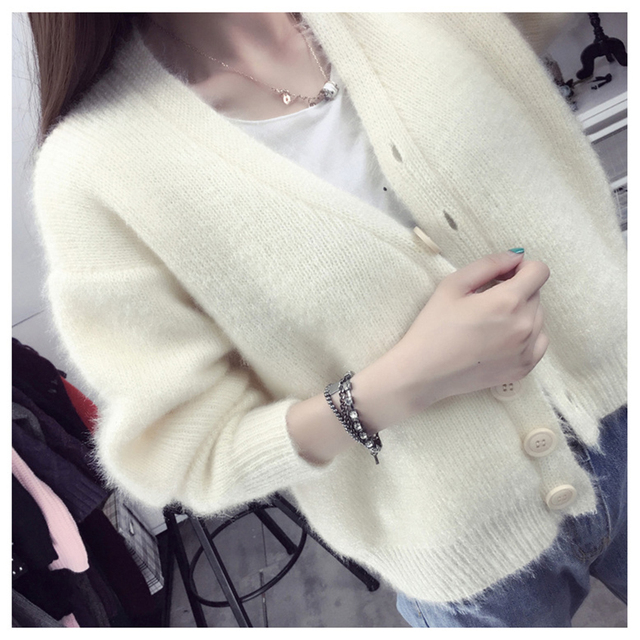 c447aeeb76 Women Cardigans Mohair Knitting Sweaters Woman 2018 New Fashion V neck  Loose Korean Style Jackets Female Short Standard Clothes