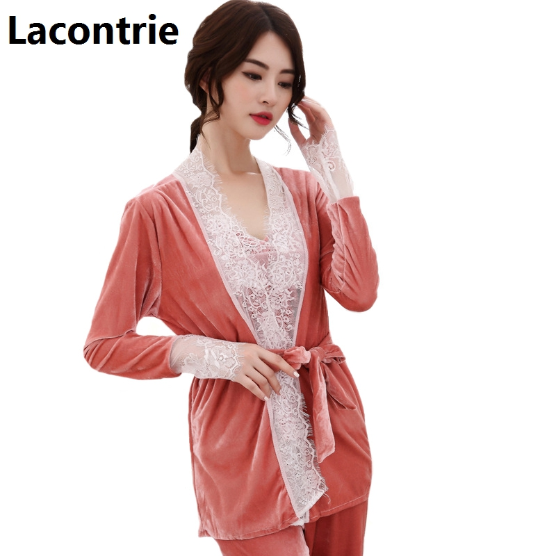 Lacontrie pyjamas ensembles femmes printemps automne à manches longues dentelle couture chemises + fronde + long pantalon 3 pièces costume ensembles sexy pyjamas N009