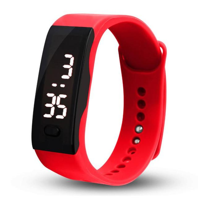Fashion Young Men Women Wristband Clock Rubber LED Watch Boys Girls Date Sports