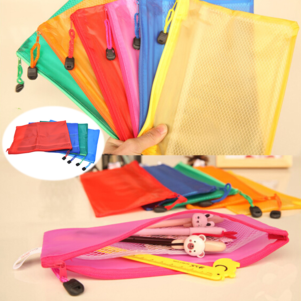 A4 Plastic File Folder Zipper Waterproof Bag Paper File Bags Document Folders Papelaria Cute Korean Stationery Supplies