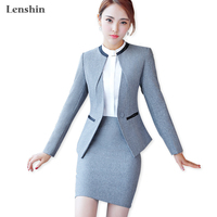Lenshin 3 Piece Set With Pocket Formal Skirt Suit Office Lady Uniform Designs Women Business Jacket