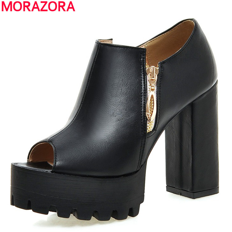 MORAZORA Plus size 34-43 thick high heels platform women pumps peep toe high quality zipper party wedding shoes woman morazora large size 34 48 2018 summer high heels shoes peep toe sweet wedding shoes shallow women pumps big size platform shoes