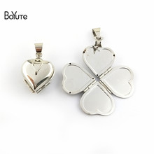 BoYuTe One ชิ้น 22*21*12 มม.ทองเหลืองดิบ Locket Heart Locket Clover VINTAGE Locket VINTAGE (China)