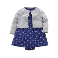 2018 Baby Girl Clothes Princess Dress Coat 2Pcs Lot O Neck Cotton Cardigan Newborn Bebes Girl