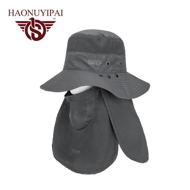 2016 marca nueva ala ancha hombres mujeres Multicolor pesca Bucket pescador  sombrero del cuello plana sol 89ccad1b20c