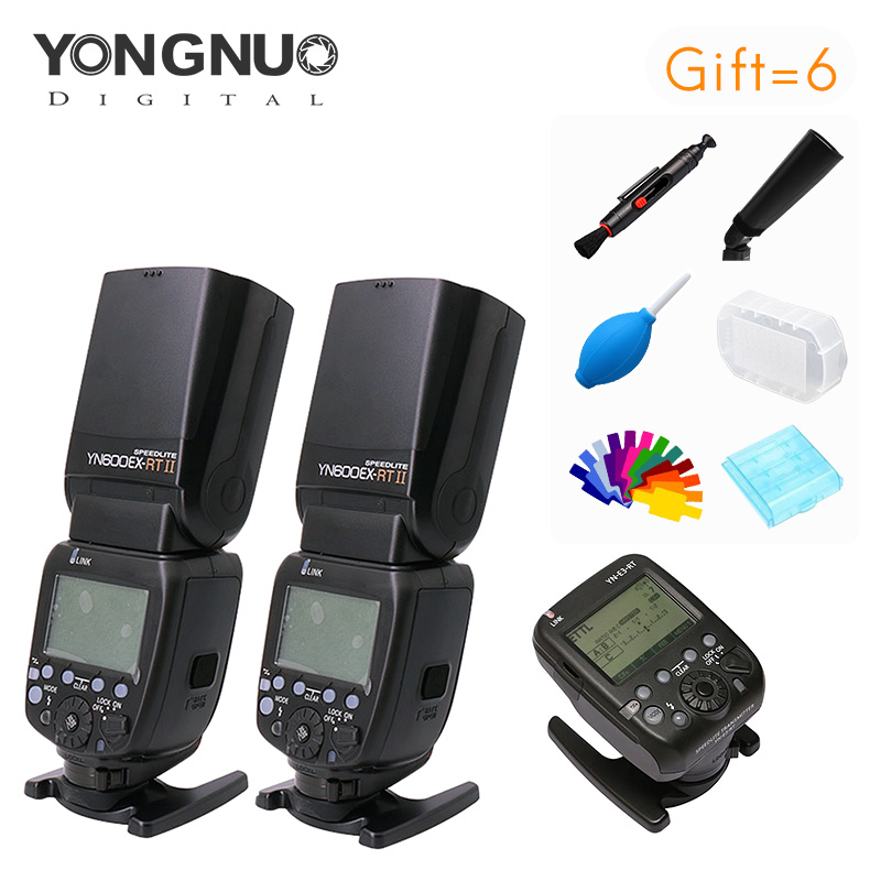 Yongnuo 2 pieces YN600EXRT II Speedlite + YN-E3-RT Speedlite Transmitter Kit High speed Sync 2.4G wireless for canon camera yongnuo yn e3 rt 2 4g 16 ch wireless speedlite transmitter black 2 x aa