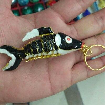 Кантри 7,5 качели кои рыбы брелки китайская перегородчатая эмаль карп аксессуары ремесла Эмаль Мода животных брелок этнический подарок - Цвет: Черный