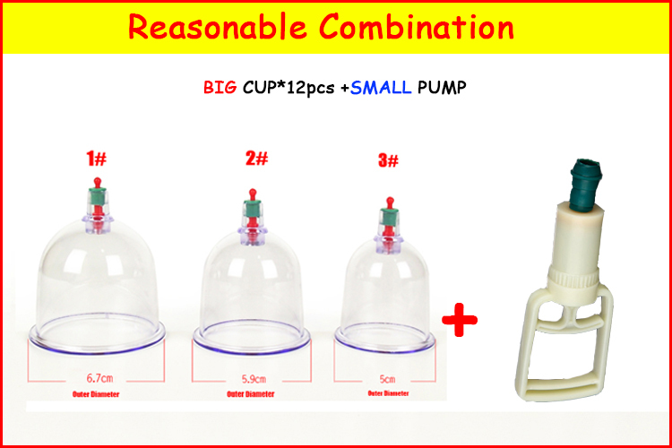 Chinese Health Medical Vacuum Cupping Therapy Cups Massage/hijama cups single cups sell in bulk 12cups and a small ABS pump
