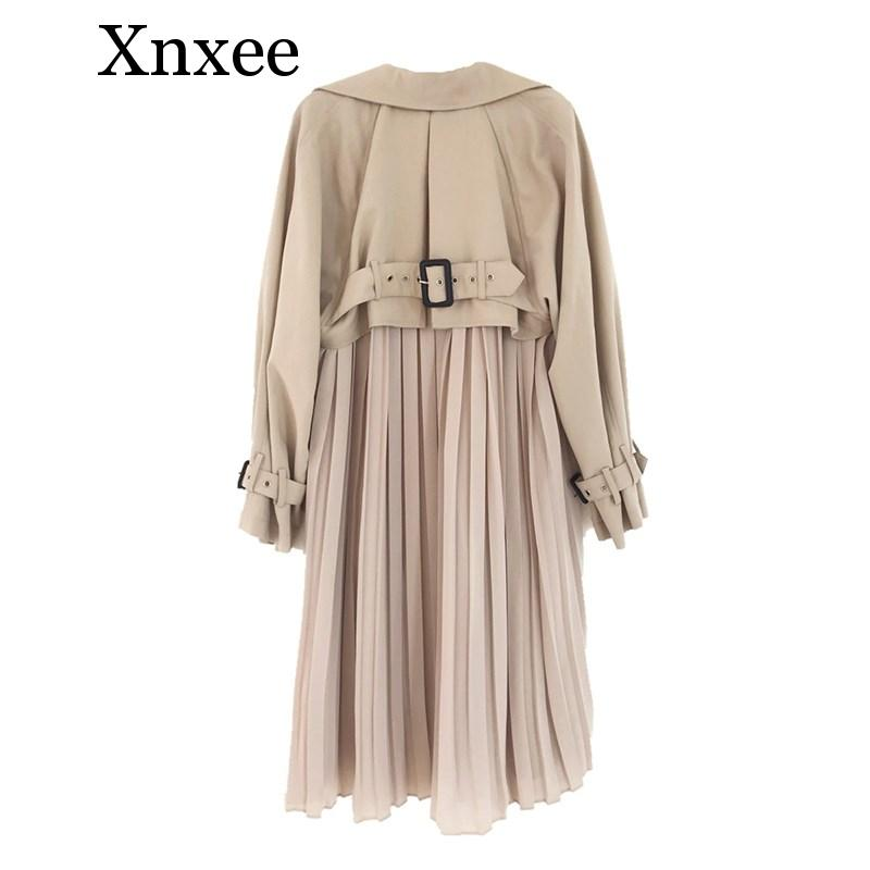 Xnxee Women Chic Spring Autumn Windbreaker Causal Chiffon Splice Pleated Long   Trench   Coat Loose Office Lady Belted Thin   Trench