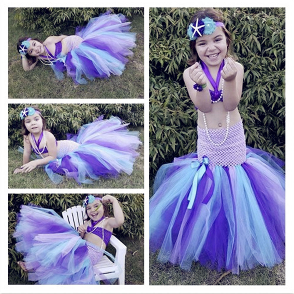 Christmas Dresses for Girls Mermaid Tail Cosplay Dress Costume Princess Ariel Little Mermaid Tutu Christening Dress for Girls newest girls princess tutu dress cosplay elsa dress christmas halloween costume for kids performance birthday dresses vestidos