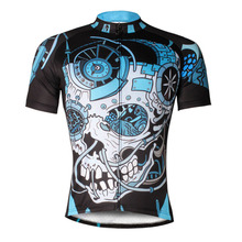 Mechanical Skull Pattern Men Full Zipper Cycling Clothing Black Short Sleeve Bicycle Jersey Pro Ciclismo Ropa Size S-6XL