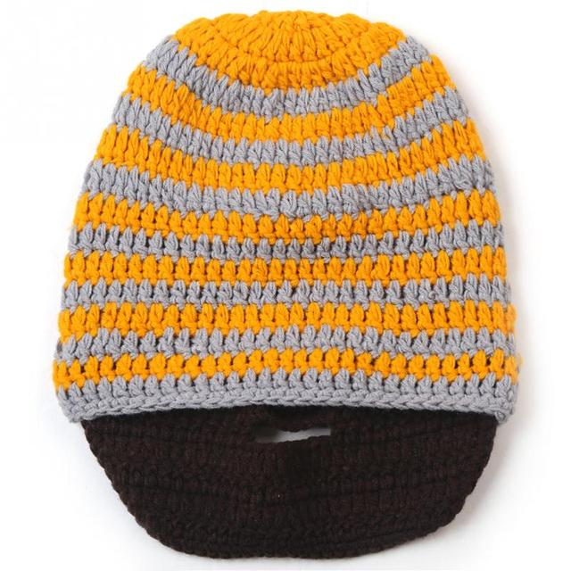 453bb24cfe0c21 LOVIW Winter Knitted Mens Crochet Beard Hat Bicycle Mask Ski Cap Roman  Knight Skullies Beanies Yellow