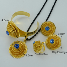 Ethiopian Gold Jewelry sets W/Blue Stone,Gold Plated Habesha Wedding Eritrea Pendant Rope/Bangle/Earrings/Ring Africa #000817