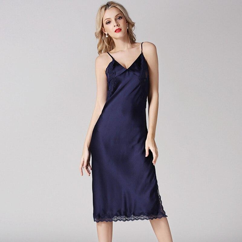 Nightgowns Women Nightclothe 100% Silk Lace Patchwork Spaghetti Strap V neck Adjustable Length 3 Colors Elegant Style All Season