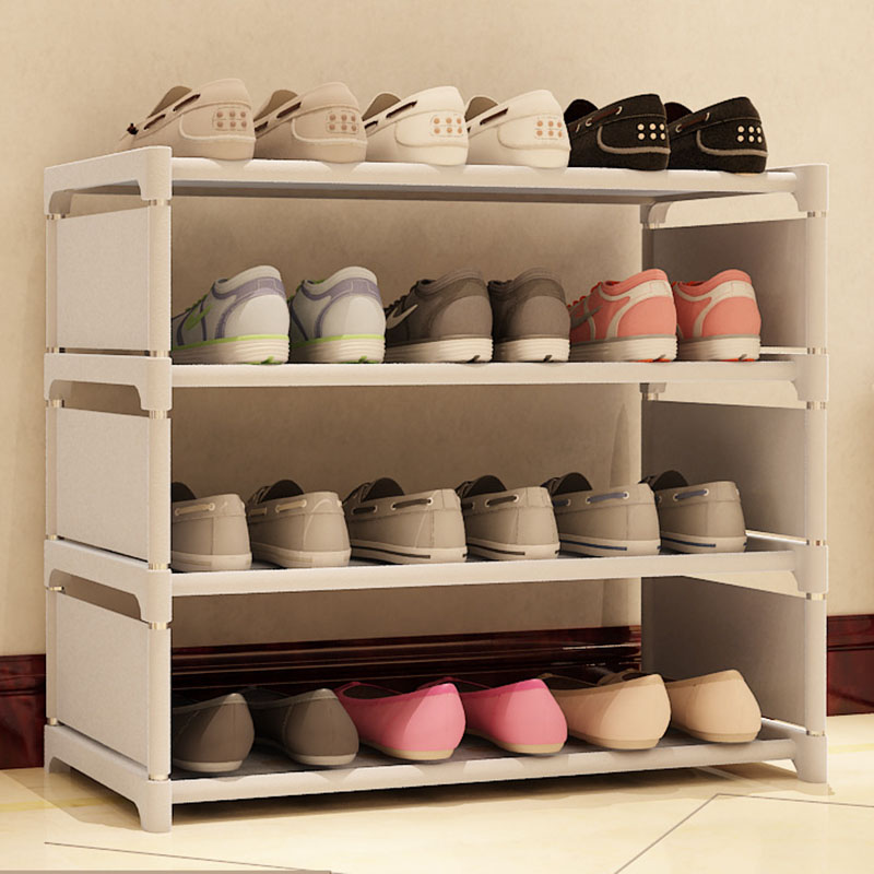 Simple Four Layers Shoe Rack Thick Steel Pipe DIY Assembly Storage Shoe Rack Modern Dustproof Shoes Shelf Shoe Organizer Cabinet