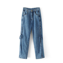 New Women Side Bandage Split Regular Jeans Lady  Fashion Denim Full Length Straigh Pants Lady High Waist Jeans