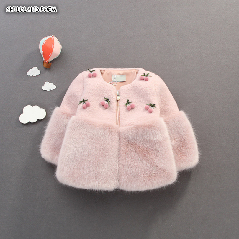Baby Girls Jacket And Coat Winter Faux Fur Toddler Girls Coat Fur Baby Outerwear For Girls Thick Warm Baby Girls Snowsuit 1-3Y