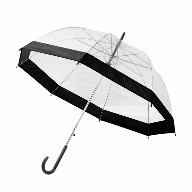 52760820a 2018 New Plastic Transparent Umbrella Lovely Rain Sunny Women Girls Ladies  Long Handle Birdcage Dome See
