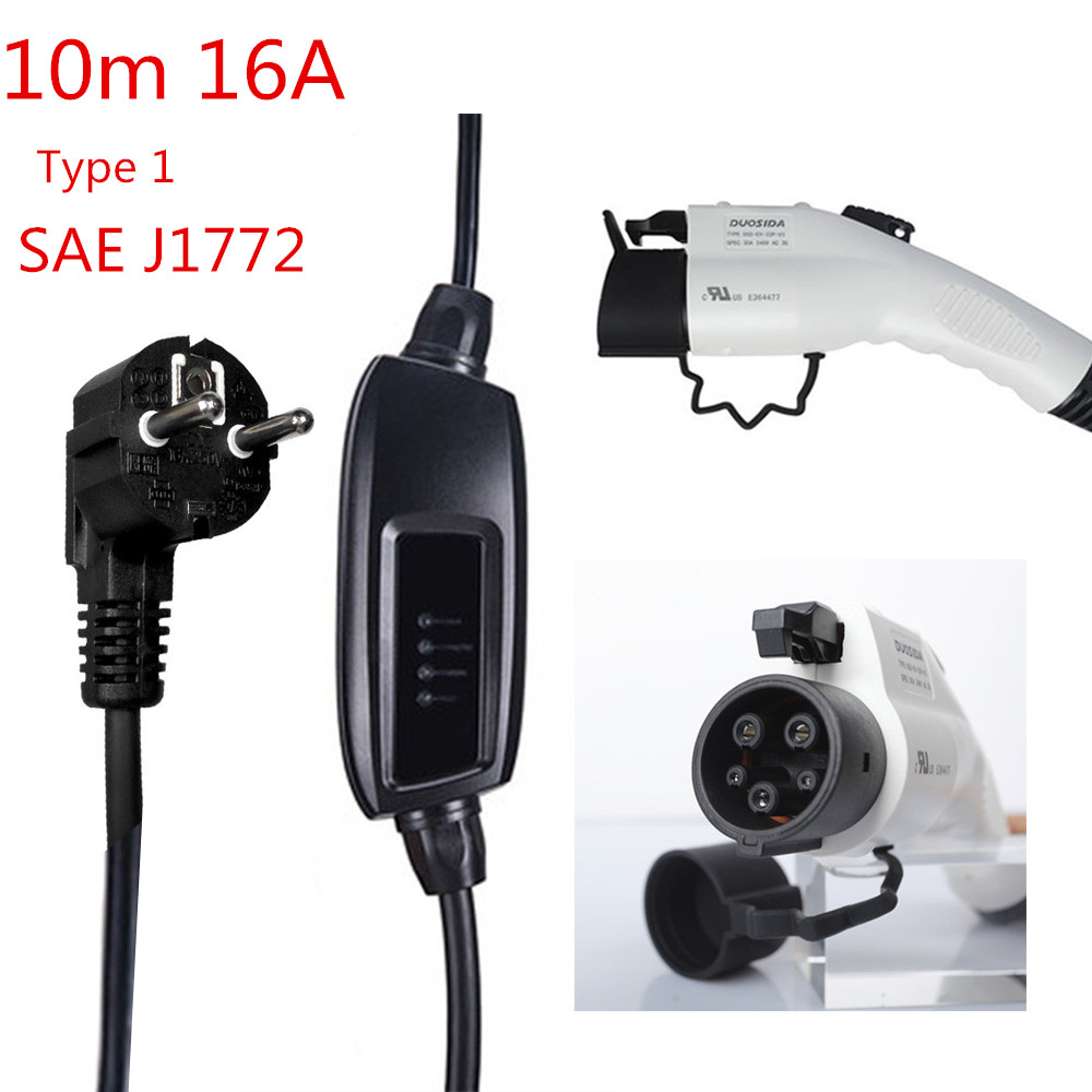 10m 16A EVSE EV Charger Plug Type 2 IEC62196 2 EV Car Charger with Eu Plug Schuko Connector for Electric Vehicle Car Charging