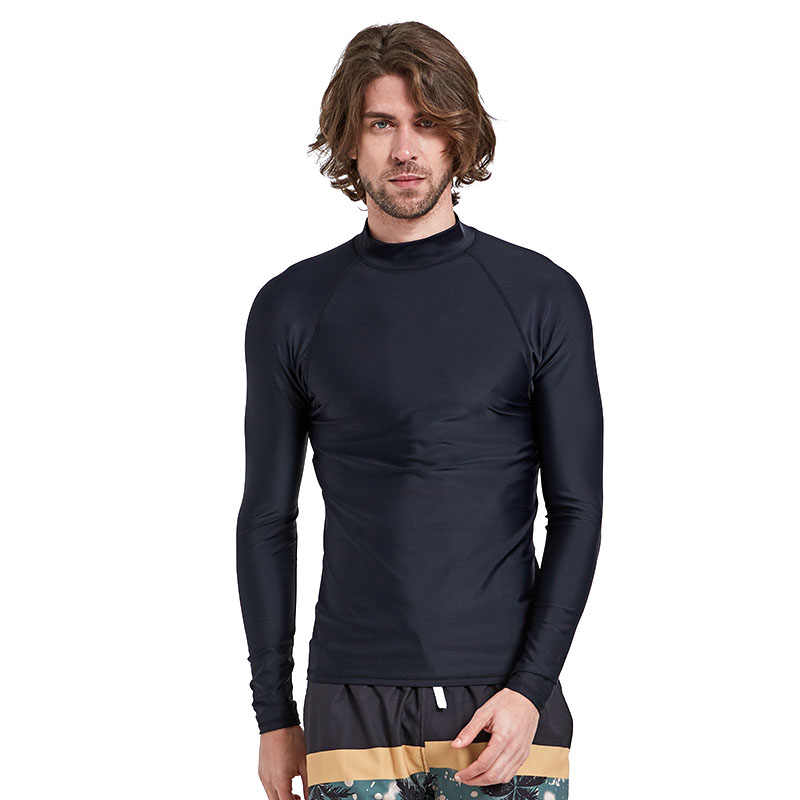 גברים של ארוך שרוול Rashguard לשחות חולצה SPF 50 + רחצה חליפות UV שמש הגנה לשחות טי מוצק שחור בסיסי עור חליפת צלילה למבוגרים