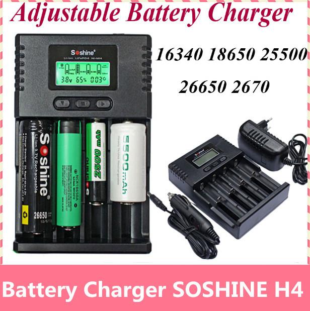 Chegam novas soshine h4 lcd inteligente universal carregador de corrente ajustável para 26650 18650 16340 li-ion nimh liifepo4 1.2 v c aa AAA