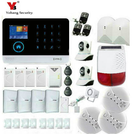 YobangSecurity Solar Power Siren Glass Break Pet Immune Sensor IP Camera Touch Keypad Wifi GSM GPRS Home Security Burglar Alarm yobangsecurity touch keypad wifi gsm gprs home security voice burglar alarm ip camera smoke detector door pir motion sensor
