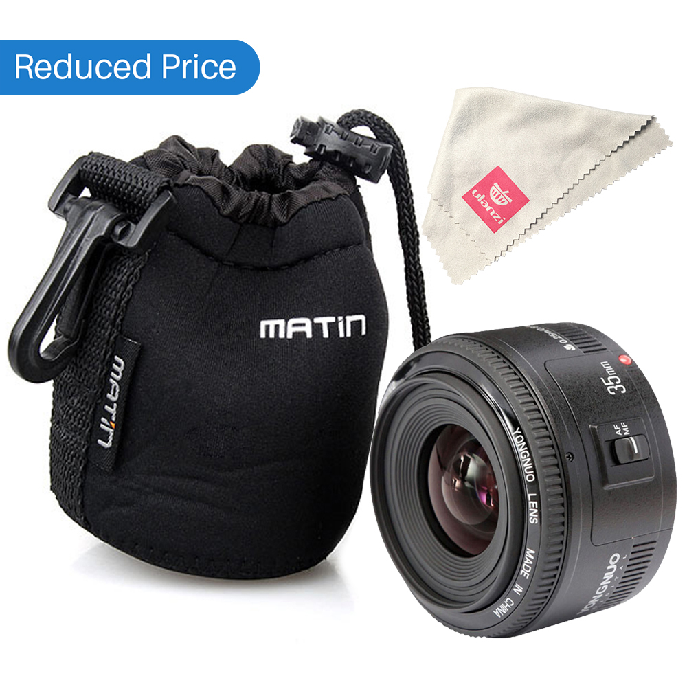 Ulanzi yongnuo 35mm lente yn35mm f2 para canon grande angular grande abertura fixa lente de foco automático ef montagem eos câmera com lente saco