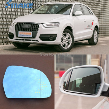 SmRKE para Audi Q3 espejo retrovisor de coche de ángulo ancho hipérbola espejo azul flecha LED en luces de señal