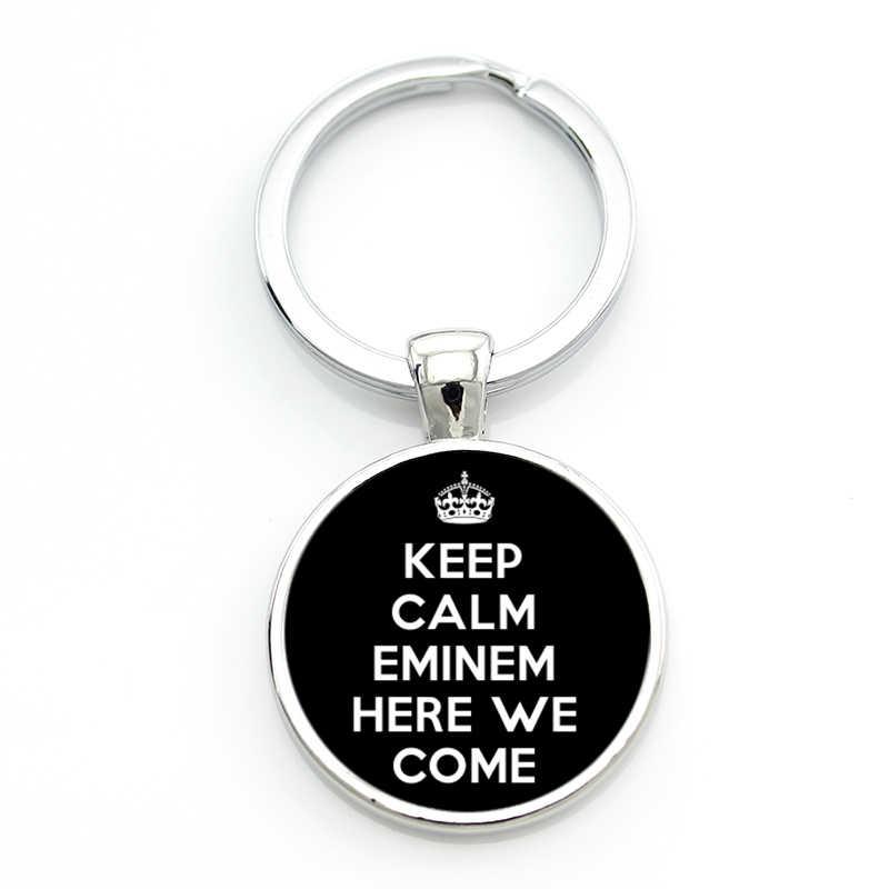 TAFREE zachowaj spokój i miłość Eminem męskie brelok moda Hip Hop Rap singer brelok do kluczy pierścień uchwyt na samochód torba wisiorek – biżuteria CT49
