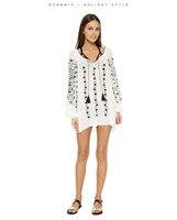 Women Boho Chiffon blouse shirt Elegant Vintage Embroidery long sleeve chiffon blouse summer women tops
