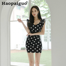 цена на 2019 Summer Black Dress Women Print Pleated Polka Dot Dress Women Korean Bodycon Wrap Dress Plus Size Robe Femme Ete 2019 Modis