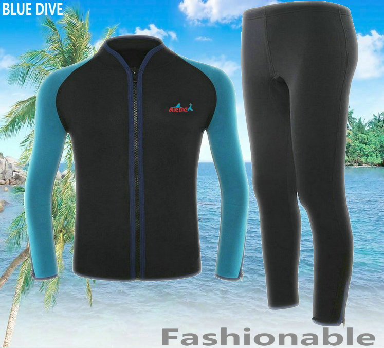 2MM Neoprene Long Sleeve Jumpsuit Men Two Piece Wetsuit Scuba Diving Suit Snorkeling Shirts +Pants Winter Swim Surf WetSuits neoprene 2mm men black long sleeve wetsuit jacket tops surf diving swim suit full zipper scuba snokling men bathing beach shirts