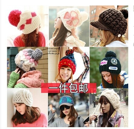 Free shipping Wool hat female Lovely han edition winter warm earmuffs knitting fashion Korea winter hats wool felt cowboy hat stetson black 50cm