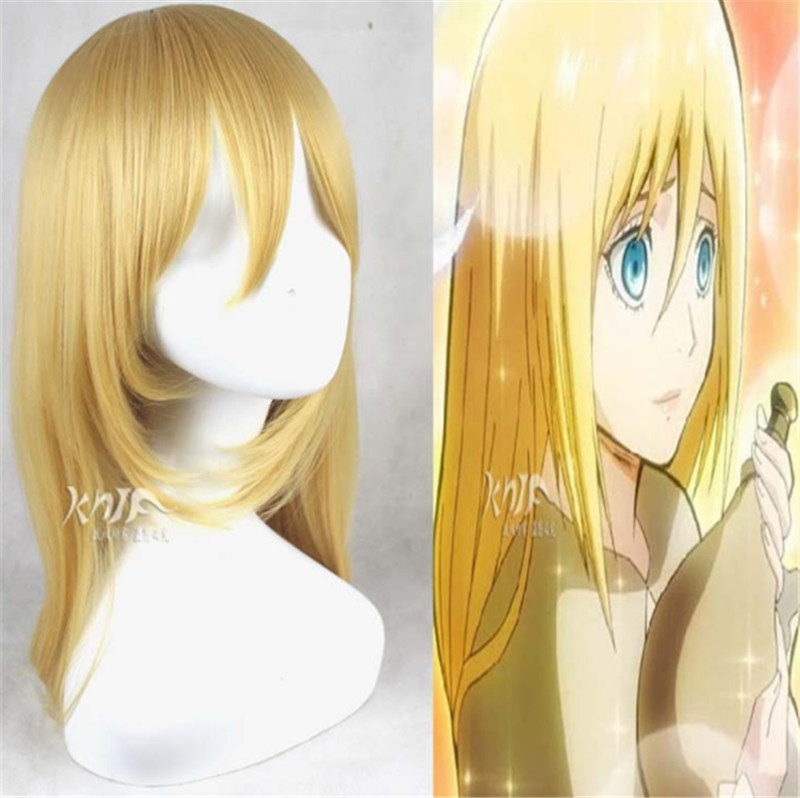 28inch Long Straight Golden Blonde Women Harajuku Cosplay Wigs Anime Yellow Attack on Titan Christa Lenz Party Wig