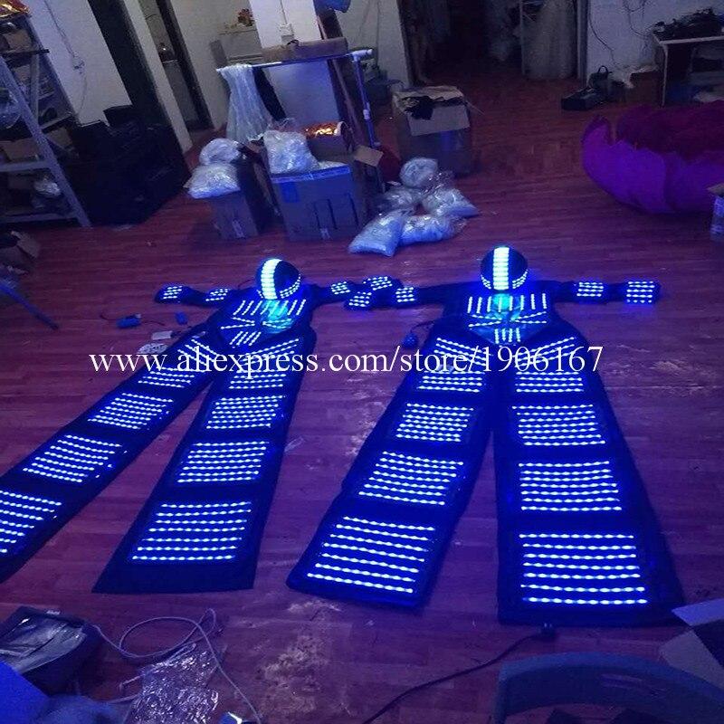 New Design RGB Flashing LED Costume LED Stilts Walker Light suits LED Robot suits Kryoman robot david guetta robot with Helmet