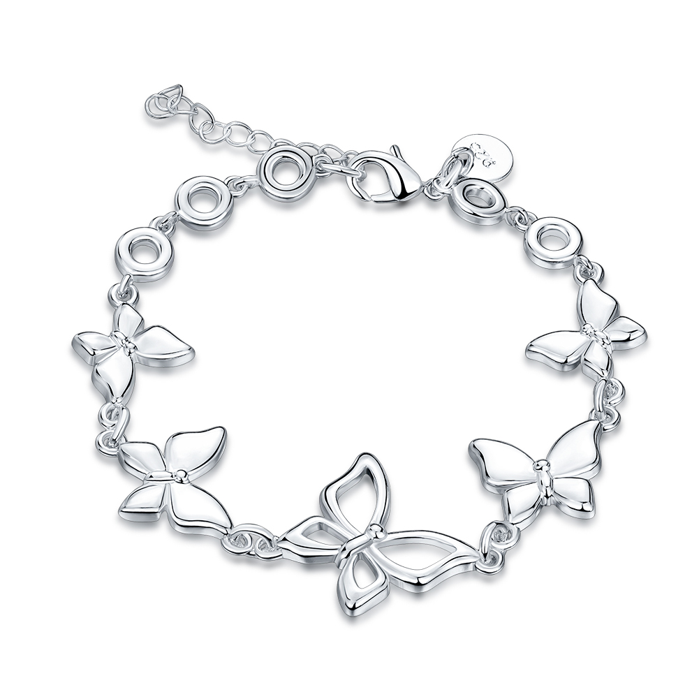 2016 New Silver Plated Austrian Butterfly Bangles & Bracelets Teen Girls  Charm Bridesmaid Fashion Jewelry(