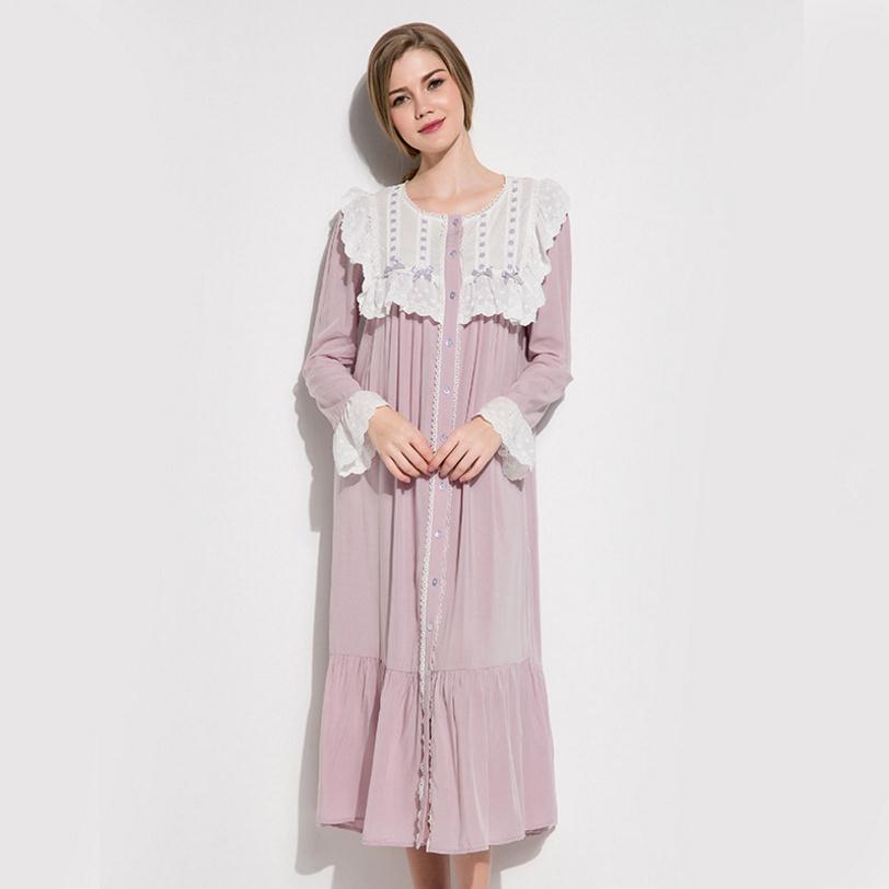 Ruffles lace long sleeve sweet Vintage Nightgown Sleepwear female summer single breasted Sleep dress pigiama gecelik wj2061