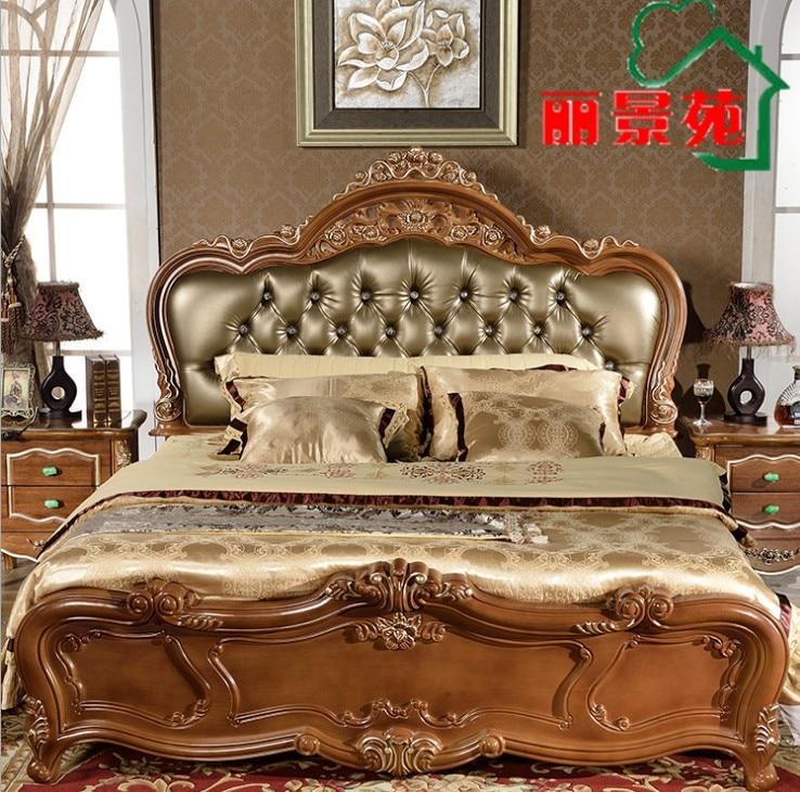Высококачественная кровать Модная европейская французская резная мебель для спальни 1,8 м кровать 9333