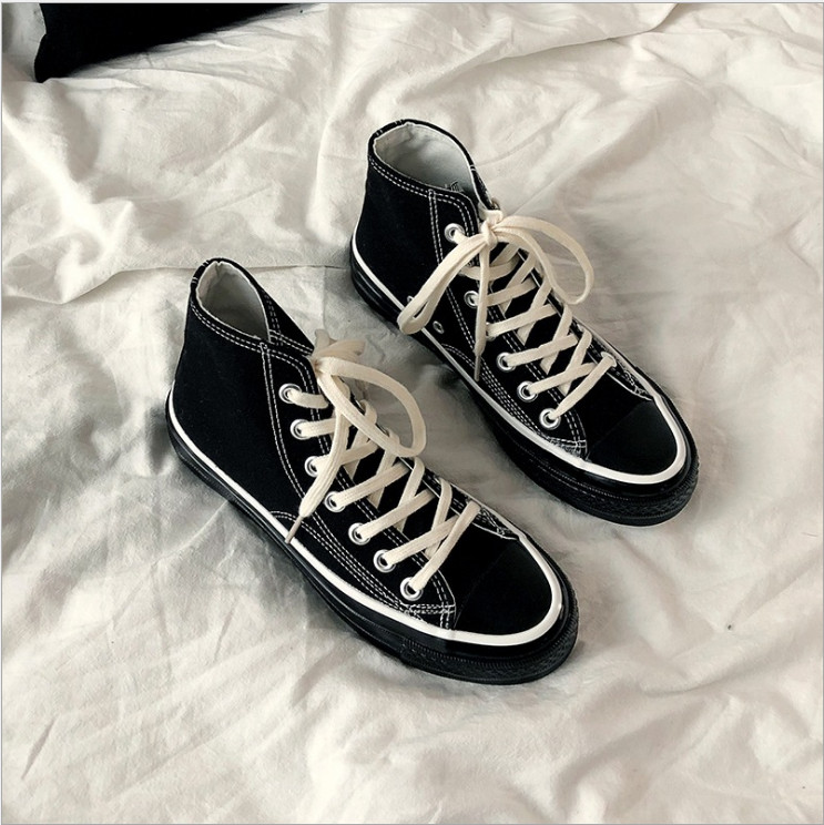 1970S cloth shoes, high-topped couple sails, black mens spring 2019 new black Korean version of Baitao sneakers1970S cloth shoes, high-topped couple sails, black mens spring 2019 new black Korean version of Baitao sneakers